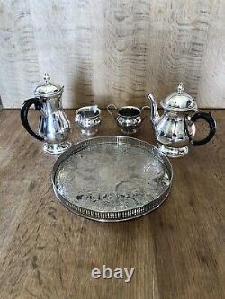 Arthur Prix Sheffield 5 Pièce Thé / Café Ensemble Lait Cruche Sugar Bowl Tray Vintage