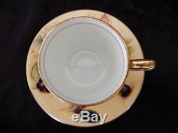 Aynsley - Ensemble De 6 Tasses À Café Et Soucoupes Vintage Orchard Gold Par M. Aynsley