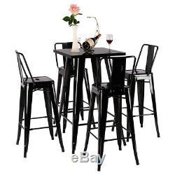 Bar Table De Bar Chaise Tabourets Rétro Petit Déjeuner Manger Table Basse En Bois Set Vintage