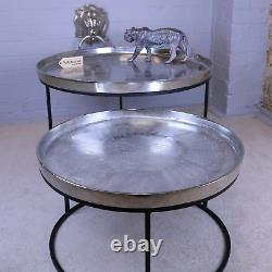 Bari Set Of 2 Metal Round Tables Vintage Handcrafted Coffee Side End