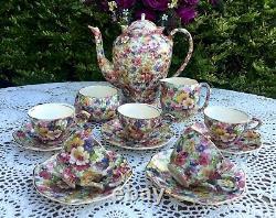 Beautiful Vintage Années 1930 James Kent Fenton Du Barry Chintz Ware Coffee Set