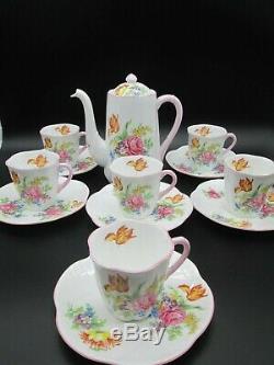 Belle Cafetière Et 6 Tasses Et Soucoupes Shelley Dainty