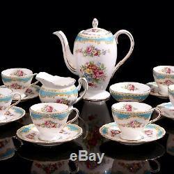 Belle Vintage Foley Windsor Bleu Café Set Pour 6 Personnes