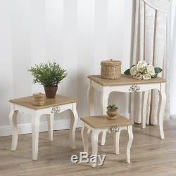 Blanc Shabby Chic Vintage Style Français Ensemble De 3 Meubles De Salon Table Basse