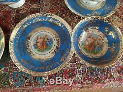 Bremer Vintage Et Schmidt Service À Café, Or 22 K Plaqué Et Peint À La Main