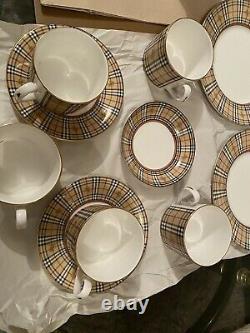 Burberry Vintage Tea/cafee Cup And Saucer (mug) Set London, T.n.-o. Fabriqué En Angleterre