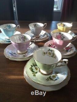 Café Ensemble Floral Vintage Standard Harlequin 18pc Teaset Royal
