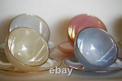 Café Français Opaline Ensemble 6 Tasses Rainbow Tea Opalescent Harlequin
