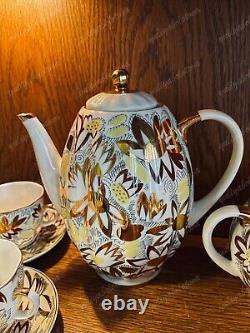 Cafetière Camomille Dorée Lomonosov Urss Dorée Lfz Ancienne Porcelaine
