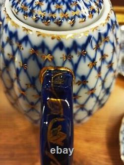 Cafetière Tet-a-tet Cobalt Net Avec Usine De Porcelaine De Lomonosov En Or Lfz