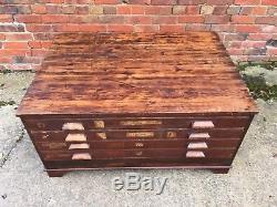 Coffre En Plan De Architect De Pin Récupéré Set De Table Basse Vintage De Bank Of Drawers