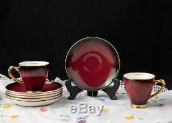 Demitasse Café Set Empireware Angleterre Superb Burgandy Vintage Art Déco