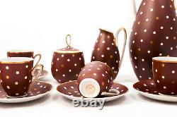 Dotty Brun Vintage 6 Personne Art Déco Freiberger Eggshell Porzelan