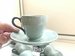 Ensemble À Café 8 Tasses 8 Soucoupe Wedgwood Celadon D'etruria & Barlaston Des Années 1950