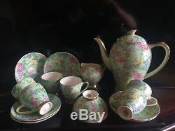 Ensemble À Café Empire Ware Vintage Vintage Chintz Vert Et Or Complet Pour 6. Heure Lilas