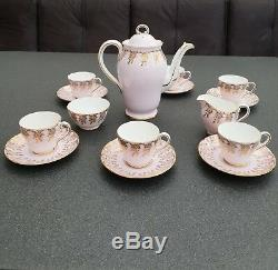 Ensemble À Café En Porcelaine Anglaise Bone China, Élégant, Rose Et Or, Rare, 1947