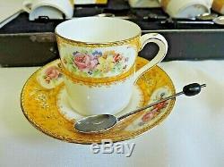 Ensemble À Café Vintage En Porcelaine Jaune Paragon Rockingham Avec 6 Cuillères En Argent Rare