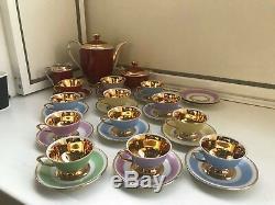 Ensemble De 12 Tasses À Soucoupe De 14 Tasses Rare Service À Café En Porcelaine Vintage De Wjs Copenhagen