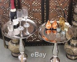 Ensemble De 2 Petites Tables Latérales Lampe À Café En Métal Poli En Finition Vintage