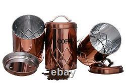 Ensemble De 3 Boîtes De Sucre De Café De Thé De Cuivre Pots De Stockage Conteneur Air Tight LID