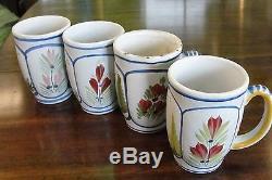 Ensemble De 4 Tasses À Café Mistral Bleu Henriot Tulipe Vintage