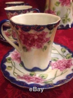 Ensemble De Café Au Thé Au Chocolat En Porcelaine Vintage Ensemble De Café En Cobalt Rose À L'hydrangea 13 Morceaux