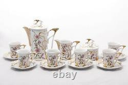 Ensemble De Café Rare De 6 Personnes Vintage Hollohaza Porcelaine Hongrie'90s