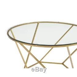 Ensemble De Table Basse En Verre Vintage Meubles Salon Table D'appoint En Métal 2 Pièces