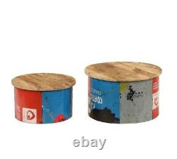Ensemble De Table Ronde Industrielle Rustique Lampe De Café Stand Vintage Style Meubles