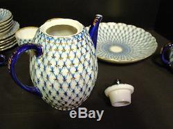 Ensemble De Thé À Café En Porcelaine De 22 Pièces Vintage Lomonossov Ussr Bleu Cobalt