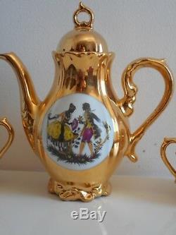 Ensemble De Thé / Café 27 Pièces Superbe Rare Vintage Bavière Allemande Doré