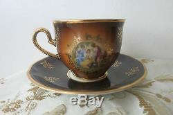 Ensemble De Thé / Café En Émail Avec Or 24 Carats Peint À La Main Vintage Bohemia, 17 Pces