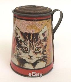 Ensemble De Thé Litho Vintage 25 Pc Abc Kitten Coffee 6 Couverts En Métal Art Ohio 1920