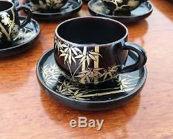 Ensemble Et Plateau À Café En Laque De Style Japonais Vintage Zohiko Kyoto