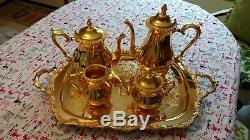 Ensemble Thé Ou Café Plaqué Or 24kt Vintage International Silver Company