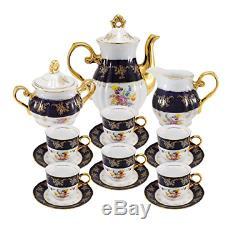 Euro Premium Porcelain 17-pc Noir Bleu Cobalt Tasse De Thé Set Café, Vintage Floral