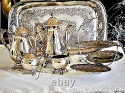Fabuleux Vieil Argent Plat Thé / Plateau De Café Sertoir Viners C 1950's