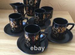 Fabulous Vintage Portmeirion Arabian Brocade Coffee Set C1968 11 Pièces