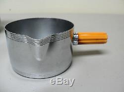 Farberware Chrome & Butterscotch Bakelite 3-pc Des Années 1930.