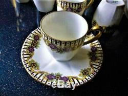 Francois Andre Vintage Limoges Handpainted Café Pour 9 Withdemitasse Cups