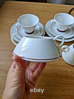 Full Set Vintage Arabia Harlekin Red Hat Par Inkeri Leivo Coffee Set 8 Pcs