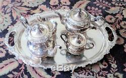 Heavy Vintage 950 Sterling Plein Tea Coffee Set + 5 Pièce Plateau = 10 Livres D'argent