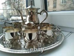 Incroyable Vintage Café Set 1960 Plaqué Argent 6 Personne Melchior