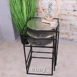 Karari Silver Metal Square Nest Of Tables Ensemble De Café De Table 3 Extrémités Latérales
