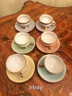 Kpm Kopenhagen Porcelaine Maleri 6 Tasses Et Soucoupes Ensemble De Café Pastel Vintage