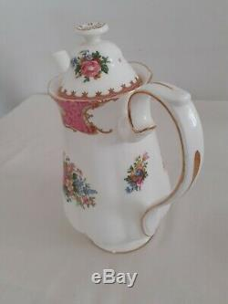 Lady Royal Albert Carlyle 15 Pièce Café Vintage Set D'or Floral Rose De 1950