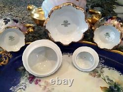 Large Vintage Hutschenreuther Hpainted Blueberry Tea Coffee Pot De Chocolat
