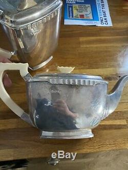 Lourd Argent Sterling 4 Piece Thé Et Café Set Art Déco Vintage Sheffield 1941