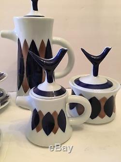 MCM Vtg Rare Sargadelos Set De Café Expresso En Porcelaine Mint Follas Match
