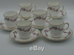 Mintons Demitasse Coffee Set For Six (6). Fabriqué En Angleterre Design Rose Garland